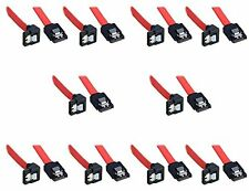 10 Pack Bipra SATA III cable Red (40cm) Locking Latch Straight to Right Angle
