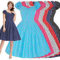 50s Retro Vintage V-Neck Pin Up Swing Polka Dot Cocktail Cotton Party Dress S-XL
