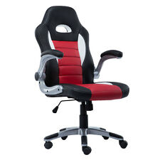 PU Leather Executive Racing Style Bucket Seat Chair Sporty Office Desk Chair Red