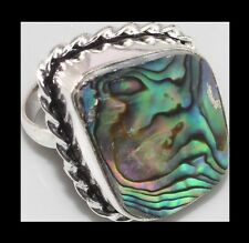 NEW - ABALONE SHELL SILVER PLATED STATEMENT RING SIZE 6.5