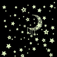 Glow In The Dark Wall Stickers Home Bedroom Decor - Luminescent - Moon & Stars