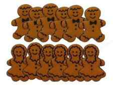 Mr & Mrs Gingerbread Cookies Novelty Plastic Buttons /Sewing Craft Supplies