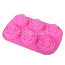 Silicone 6 Holes Flower Rose Cup Cake Jelly Chocolate Mold Muffin Bake Tray