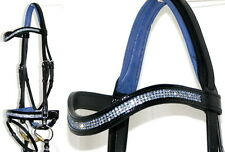 FSS Curve U CRYSTAL BLING SAPPHIRE BLUE German Crank Comfort PATENT GLOSS Bridle
