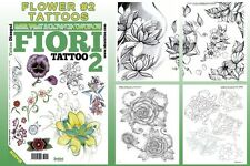 FIORI 2 FLOWERS Tattoo Flash Design Book 66-Pages Cursive Writing Art Supply