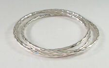 925 sterling silver exxtra large size triple hammered tube bangle