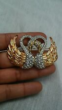 Beautiful vtg. Nolan Miller faux diamond enamel swans  pin brooch