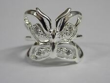silver & crystal butterfly ring high quality size m lovely item