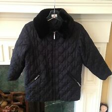 GIRL'S HANNA ANDERSSON Jacket SZ 140 9 10 11 BLACK FUR QUILTED COAT