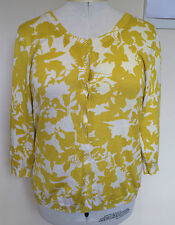 SPORTSCRAFT ~ Mustard Yellow Beige Silk Cotton Blend 3/4 Length Cardigan ~ L