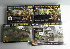 Warlord Games Bolt Action US army, Infantry. Sherman tank, M8 Greyhound and dice