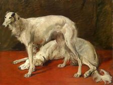 """Hand painted oil painting nice animals two white dogs on the floor canvas 24""""x36"""