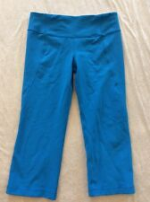 Lululemon 8 Gather And Crow Crops Pants Turquoise Blue Womens Yoga Run Floral