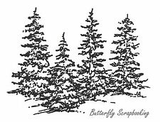 Four Simple Pine Trees Wood Mounted Rubber Stamp New NORTHWOODS - F2918