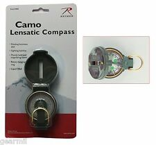 Marching Lensatic Compass Woodland Camo Luminous Dial Terrain Navigation NEW