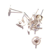 1206FN Earstud Stud Post, Silver plated Brass, 6mm Flat Pad,  100 Qty