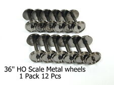 1 Pack 12 Pcs 36'' HO Scale Metal Wheels for Model Train 1:87