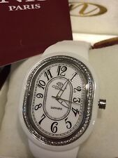 New Oniss Paris Ceramic Watch Saphire Crystal Swiss Movement white /silver