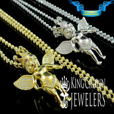 SOLID SILVER GOLD FINISH LAB DIAMOND 2 SET OF ANGEL CROWN PENDANT CHAIN COMBO
