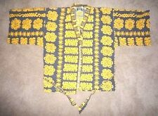 Vtg HOKU HAWAII Yellow Summer HAWAIIAN ROBE Bright Flowers Shirt ONE SIZE Beach