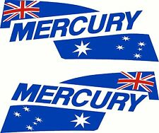 Pair of Mercury Australia Flags Mirrored Motor Hood Fishing Boat Decal Sticker