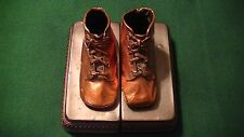 BRONZE BABY SHOES BOOK ENDS A PERMA PLATED PRODUCT VINTAGE COPPER COLOR NICE!