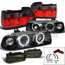 92-98 BMW E36 2D Halo Projector Headlights Black+Fog Lamps+Tail Lights Red/Smoke