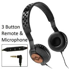 House Of Marley Liberate Midnight Headphones iPhone iPod 3 Button Remote & Mic