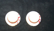 2-REALISTIC WHITE PLASTIC STRAW HAT BUTTONS W/RED RIBBON-MOLDED-SEW-ART-CRAFT