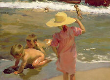 Art Oil painting portraits children bathing playing by beach with waves canvas