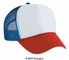 White Red Blue 3 tone Trucker Hat mesh hat snapback hat
