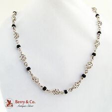 Long Wire Basket Link Onyx Bead Necklace Sterling Silver Mexico