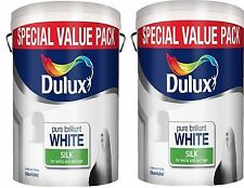 2 for £33.99  Dulux Pure Brilliant White Silk Emulsion-Walls & Ceilings Paint 6L