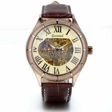Men's Luxury Skeleton Roman Numerals Dial Mechanical Brown Leather Wrist Watch