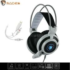 Sades Stereo 7.1 Surround Headset USB Headband PC Notebook Pro Gaming w/Mic G0TO