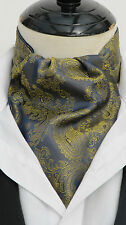 Mens Navy Blue & Gold Shot Paisley Silk Satin Ascot Cravat & Handkerchief