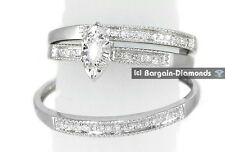 Diamond .18 carat marquise 10K Gold 3-Ring Wedding Band Set bridal groom
