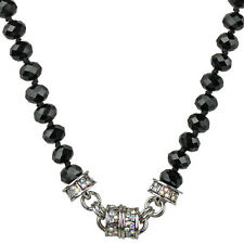 NEW KIRKS FOLLY TIMELESS CRYSTAL  BEAD MAGNETIC NECKLACE  SILVERTONE/ BLACK