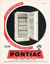 PUBLICITE ADVERTISING  1960   PONTIAC  réfrigérateur frigidaire