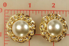 2 Czech buttons large glass pearl center set in gold setting w/ rhinestones #571