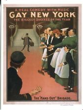 """POST CARD OF A POSTER FROM THE PLAY """"GAY NEW YORK"""" BIGGEST SUCCESS OF THE YEAR"""