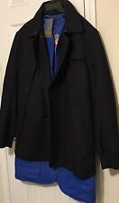 NWT Y-3 YOHJI YAMAMOTO ADIDAS Men's BLACK FLANNEL/BLUE LINED COAT Size LARGE