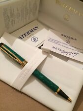VINTAGE WATERMAN LE MAN  PATRICIAN GREEN MARBLE  BALL PEN-FRANCE-BOXED-NOS