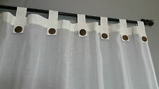 Bali Natural Cotton Cream Tab Curtains 133 cm x 200 cm
