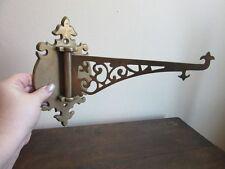 Vtg ornate brass wall mount plant hook. Hanging flower pot