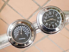7/8'' 1'' Motorcycle Bike Handlebar Mount Dial Clock & Thermometer Gauge Bar NEW