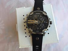 NWT Diesel DZ7348 Mr Daddy 2.0 Chronograph Black Leather Quartz Mens Watch W Box