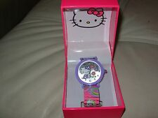 HELLO KITTY by SANRIO GIRL'S SILVER/PINK DAISY FACE COLORED WRISTBAND WATCH NIB