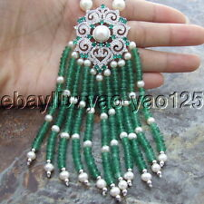 Natural Pearl Jade CZ Pendant Necklace