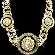 HUGE STATEMENT LION MEDUSA Head Medallion Greek Key MENS LADIES Chain Necklace